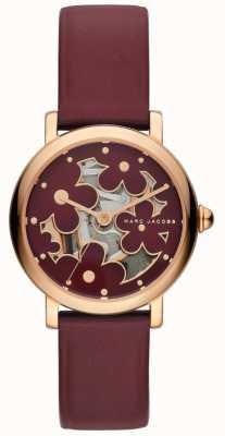 Orologio classico da donna Marc Jacobs in pelle burghundy MJ1629