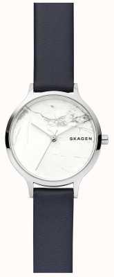 Skagen Orologio da donna con cinturino in pelle con quadrante in marmo bianco SKW2719
