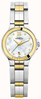 Michel Herbelin Ladies newport royale quadrante in madreperla bicolore diamantato 14298/BT89