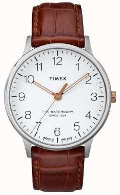 Timex Mens il classico quadrante bianco waterbury con lancette in oro rosa TW2R95900