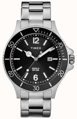 Timex Bracciale da uomo in acciaio inossidabile al porto con quadrante nero TW2R64600