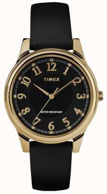 Timex Orologio da donna con cinturino nero classico con cinturino in pelle nera TW2R87100