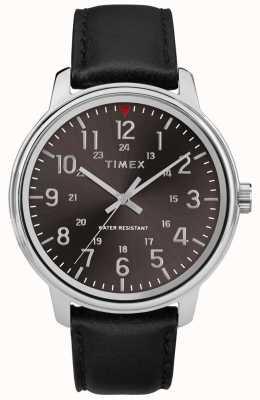 Timex Quadrante nero spazzolato in pelle nera classica da uomo TW2R85500
