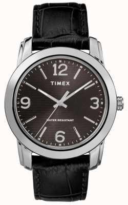 Timex Quadrante nero classico con cinturino in pelle di coccodrillo color cuoio TW2R86600