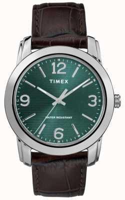 Timex Quadrante verde classico cinturino in pelle di coccodrillo marrone TW2R86900
