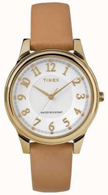 Timex Quadrante argentato da donna con cinturino in pelle marrone chiaro con tonalità oro TW2R87000