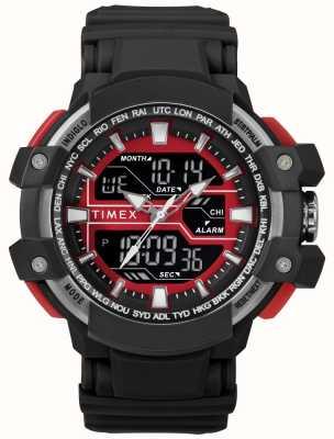 Timex Cassa nera da uomo 50mm con cinturino nero con accento rosso TW5M22700