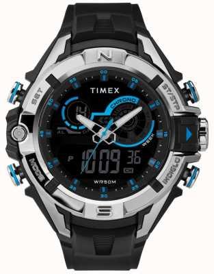 Timex Mens 47mm cassa nera cinturino cromato nero TW5M23000