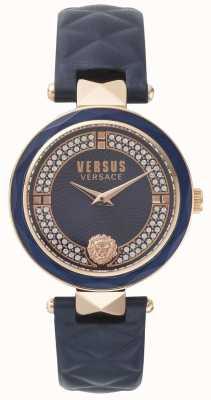 Versus Versace Quadrante con cinturino in pelle blu da giardino per donna SPCD280017