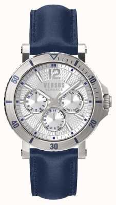 Versus Versace Cinturino in pelle blu uomo steenberg quadrante argentato SP52010018