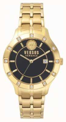 Versus Versace Bracciale da donna con quadrante nero in oro giallo brackenfell SP46030018
