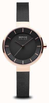 Bering Womens solare, quadrante sunray, cassa in oro rosa, cinturino in rete nera 14631-166