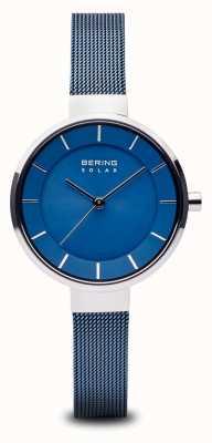 Bering Womens solare, quadrante sunray, cassa argento, cinturino in rete blu 14631-307