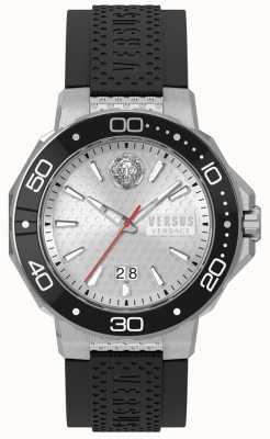 Versus Versace Cinturino in silicone nero con quadrante argentato Mens Kalk Bay vSP05010018