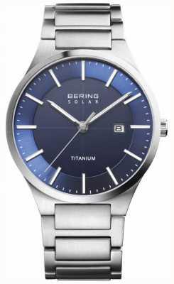 Bering Cinturino in titanio argento con quadrante blu solare 15239-777