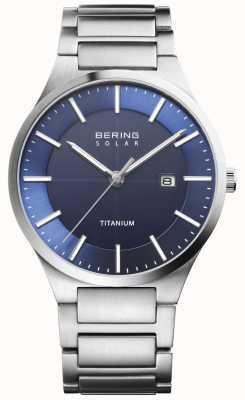 Bering Mens solare blu viso argento titanio 15239-777