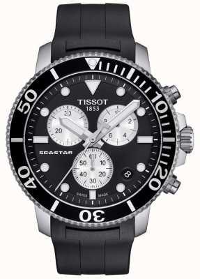 Tissot Cronografo al quarzo uomo Seastar 1000 nero / cinturino in caucciù T1204171705100