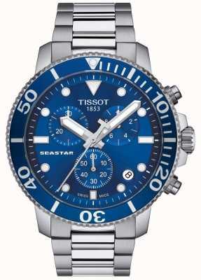Tissot Mens seastar 1000 cronografo al quarzo blu / acciaio inossidabile T1204171104100