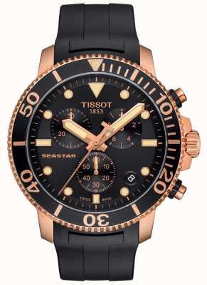 Tissot Cronografo da uomo al quarzo seastar 1000 nero/oro/cinturino in gomma T1204173705100