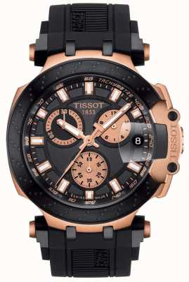 Tissot Mens t-race quartz chrono quadrante nero accenti placcati in oro T1154173705100