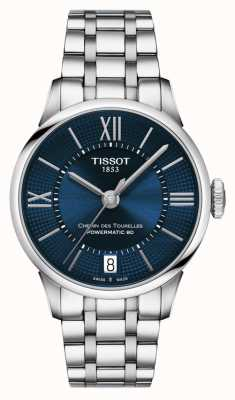 Tissot Chemin des tourelles powermatic 80 quadrante blu in acciaio inossidabile T0992071104800