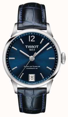 Tissot Quadrante blu cinturino in pelle blu chemin des tourelles T0992071604700