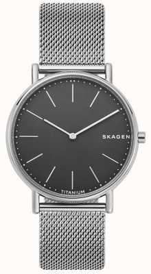 Skagen Quadrante nero con cinturino a maglie in acciaio inossidabile SKW6483