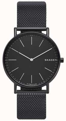 Skagen Quadrante nero con cinturino in maglia nera acciaio inossidabile signatur SKW6484