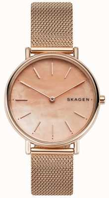 Skagen Quadrante rosa per signora signatur in oro rosa con cinturino in acciaio inossidabile SKW2732