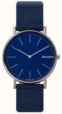 Skagen Caso in pelle di titanio blu con cinturino in pelle blu SKW6481