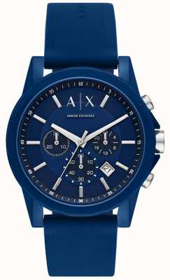 Armani Exchange Set regalo per orologio sportivo da uomo | cinturino in silicone blu | AX7107