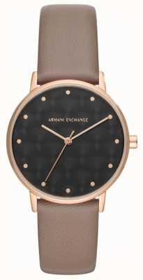 Armani Exchange Armani scambio signore vestito orologio cinturino in pelle marrone AX5553
