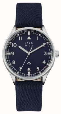 Jack Wills Cinturino da uomo in pelle marina con quadrante blu navy JW001BLSS