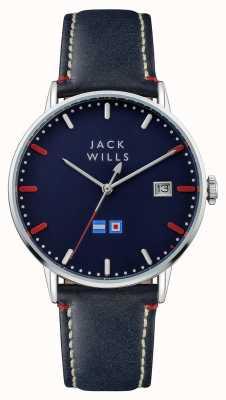 Jack Wills Cinturino in pelle blu batson quadrante blu da uomo JW002BLSS