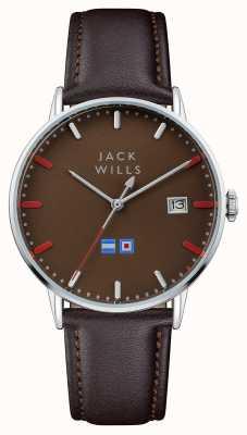 Jack Wills Cinturino in pelle marrone batson quadrante marrone uomo JW002BRBR