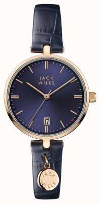 Jack Wills Womens bennett blu quadrante cinturino in pelle blu JW005BLRG