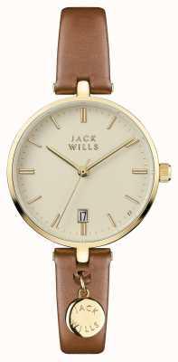 Jack Wills Womens bennett crema quadrante cinturino in pelle marrone JW005CMGD