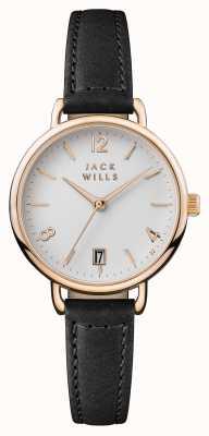 Jack Wills Cinturino in pelle nera onslow quadrante bianco JW006BKRS
