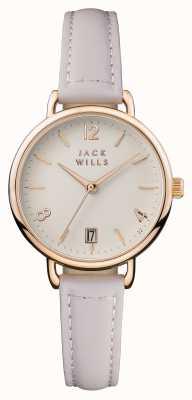 Jack Wills Cinturino in pelle rosa con quadrante color crema JW006PKRS