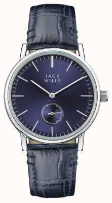 Jack Wills Cinturino da donna in pelle blu con quadrante blu con fibbia JW007BLSS