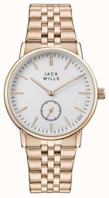Jack Wills Bracciale da donna in oro rosa con quadrante bianco con fibbia JW007WHRS
