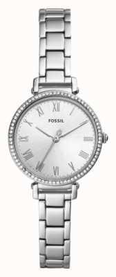 Fossil Quadrante bianco cinturino in acciaio inossidabile da donna kinsey ES4448