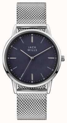 Jack Wills Bracciale in maglia di acciaio inossidabile con quadrante blu intenso JW011SSBL