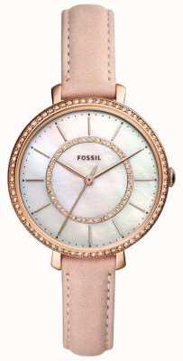 Fossil Cinturino in pelle di donna beige con cinturino in acciaio inossidabile ES4455