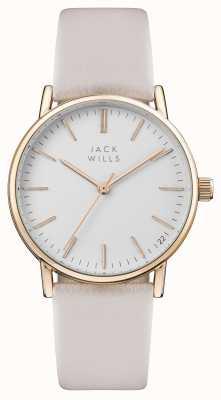 Jack Wills Cinturino in pelle rosa con quadrante bianco per donna JW013PKRS