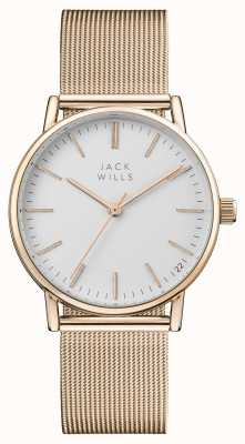 Jack Wills Bracciale da donna in oro rosa con quadrante bianco in pvd JW013RSRS