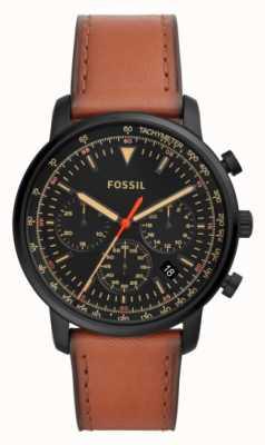 Fossil Quadrante nero cronografo da uomo in pelle marrone cronografo marrone FS5501