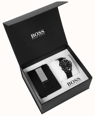 Hugo Boss Mens box fermasoldi classico quadrante nero in pelle nera 1570065
