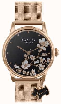 Radley Orologio da donna con cinturino nero con cinturino in maglia a fiori RY4346