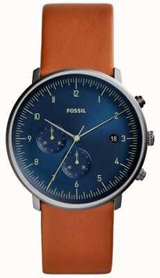 Fossil Quadrante blu con cinturino in pelle marrone con orologio da uomo FS5486